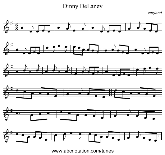 Dinny DeLaney - staff notation
