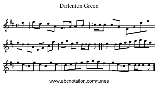Dirlenton Green - staff notation