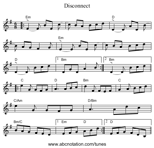 Disconnect - staff notation