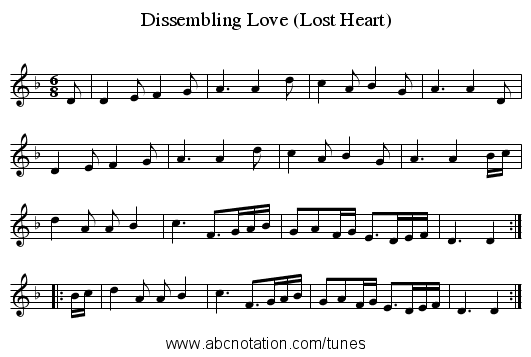 Dissembling Love (Lost Heart) - staff notation
