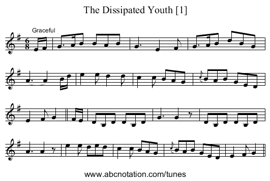 Dissipated Youth [1], The - staff notation