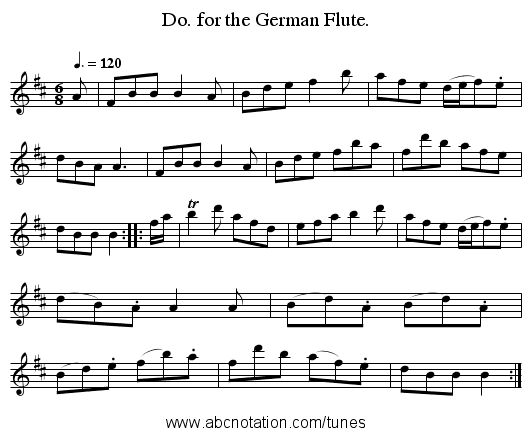 Do. for the German Flute. - staff notation