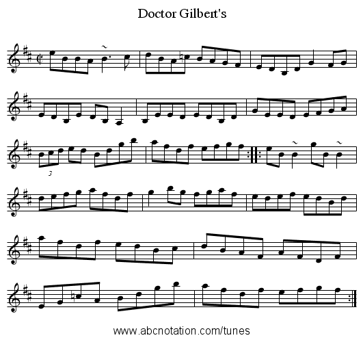 Doctor Gilbert's - staff notation