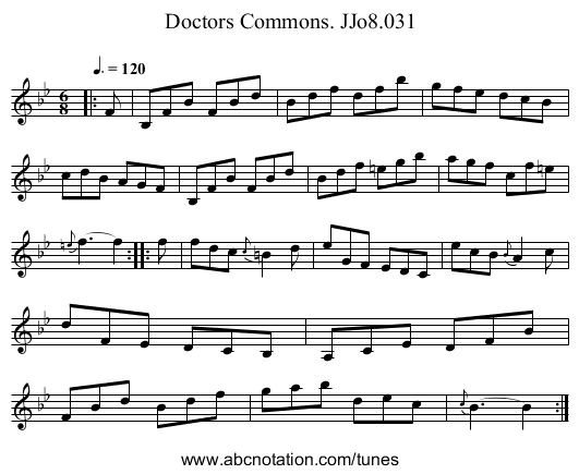 Doctors Commons. JJo8.031 - staff notation