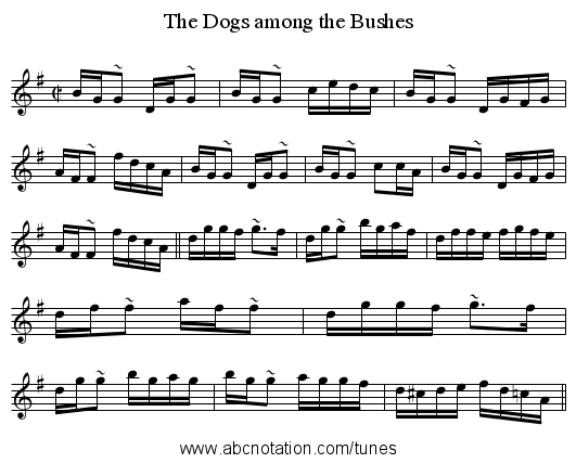 Dogs among the Bushes, The - staff notation