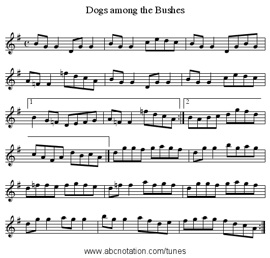 Dogs among the Bushes - staff notation