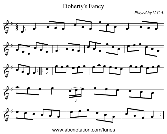 Doherty's Fancy - staff notation