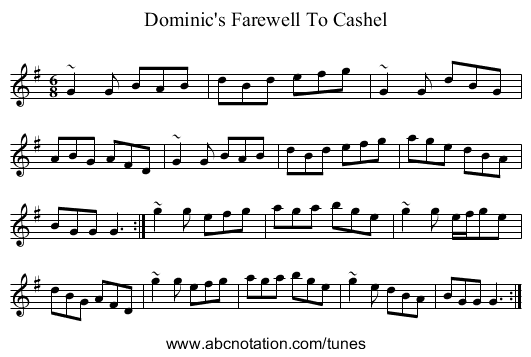 Dominic's Farewell To Cashel - staff notation