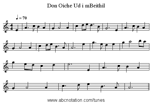 Don Oiche Ud i mBeithil - staff notation