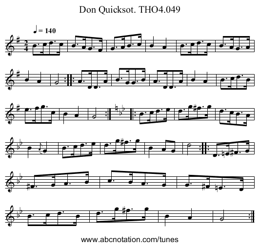 Don Quicksot. THO4.049 - staff notation