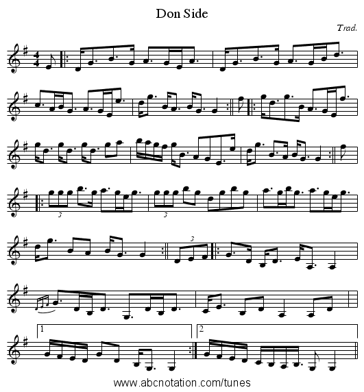Don Side - staff notation