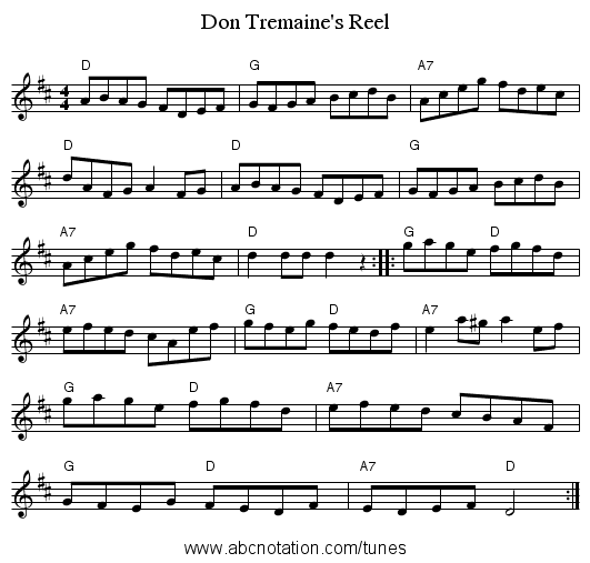 Don Tremaine's Reel - staff notation