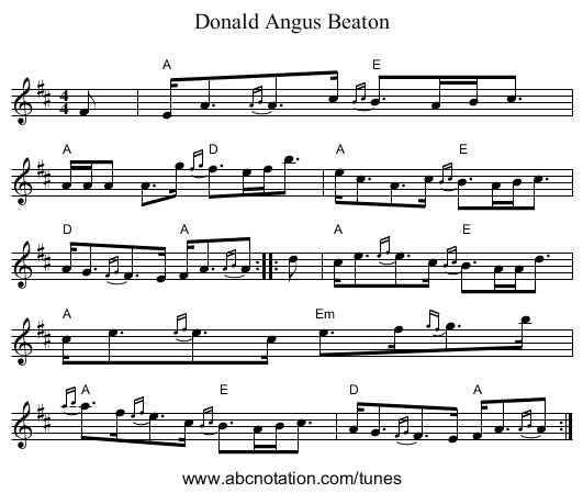 Donald Angus Beaton - staff notation