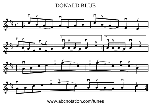 DONALD BLUE - staff notation