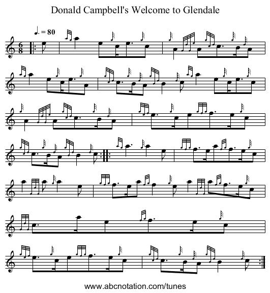 Donald Campbell's Welcome to Glendale - staff notation
