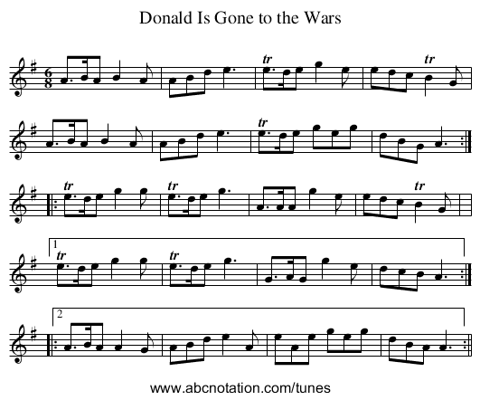 Donald Is Gone to the Wars - staff notation