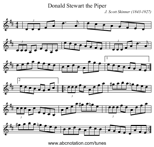 Donald Stewart the Piper - staff notation