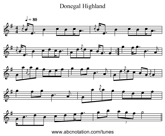 Donegal Highland - staff notation