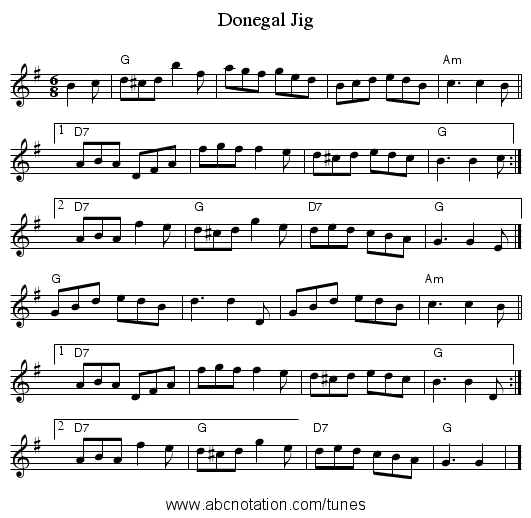 Donegal Jig - staff notation