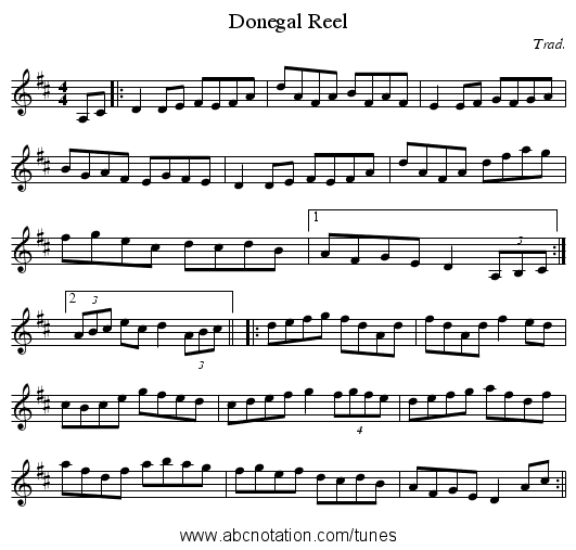Donegal Reel - staff notation