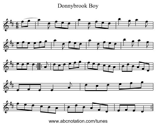 Donnybrook Boy - staff notation