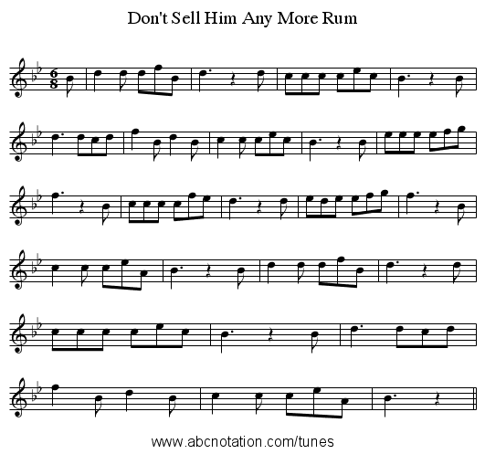 Don't Sell Him Any More Rum - staff notation