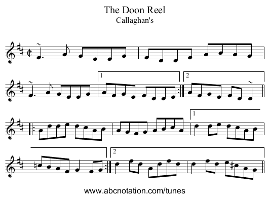 Doon Reel, The - staff notation