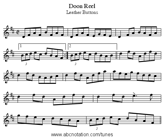 Doon Reel - staff notation