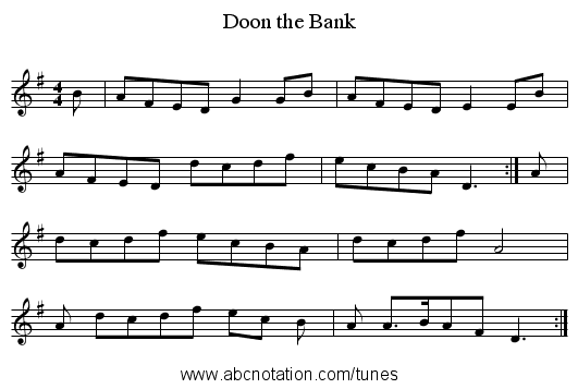 Doon the Bank - staff notation