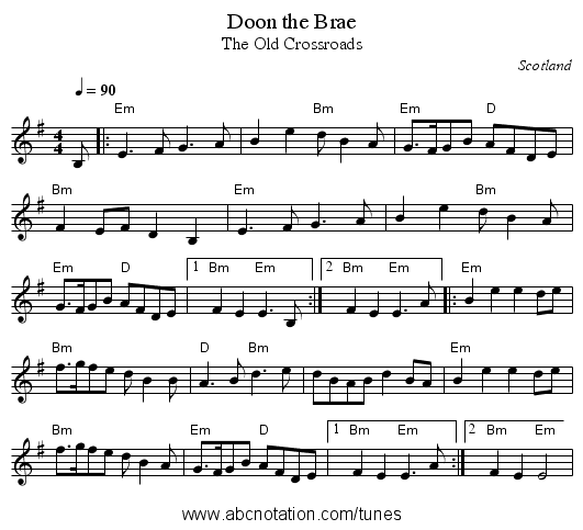 Doon the Brae - staff notation