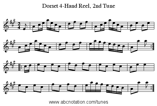 Dorset 4-Hand Reel, 2nd Tune - staff notation