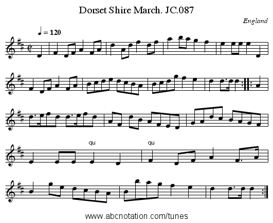 Dorset Shire March. JC.087 - staff notation