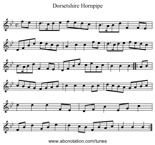 Dorsetshire Hornpipe, The - staff notation
