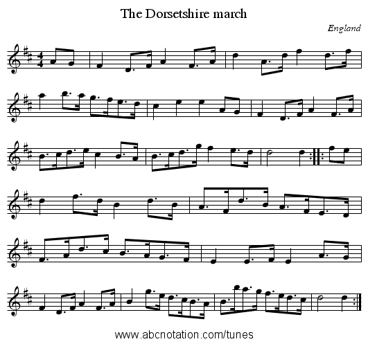 Dorsetshire march, The - staff notation