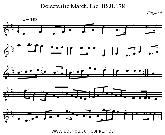 Dorsetshire March,The. HSJJ.178 - staff notation
