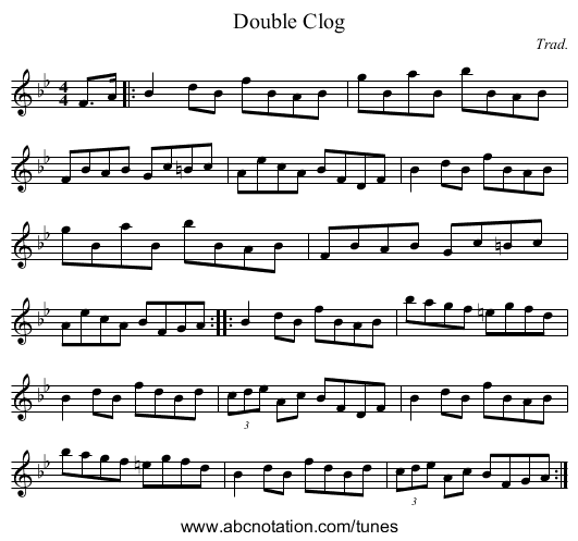 Double Clog - staff notation