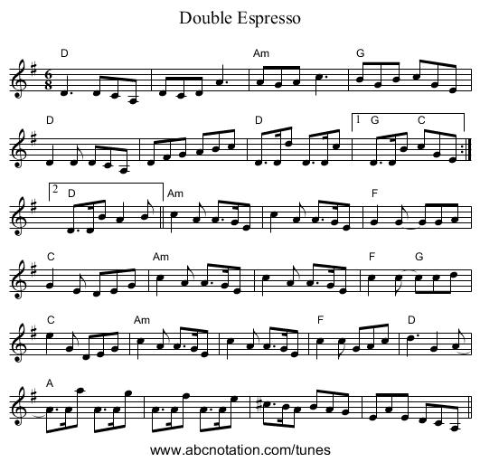 Double Espresso - staff notation