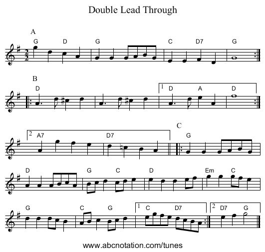 Double Lead Through - staff notation