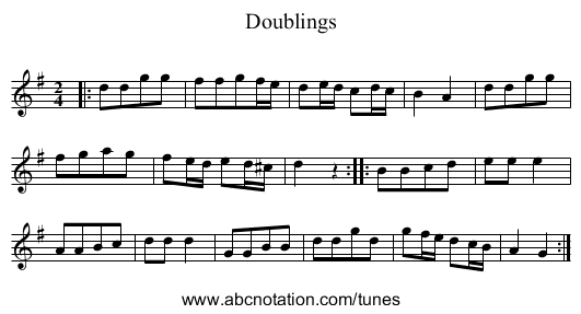 Doublings - staff notation