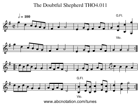 Doubtful Shepherd THO4.011, The - staff notation
