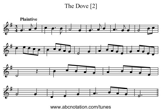 Dove, The [2] - staff notation