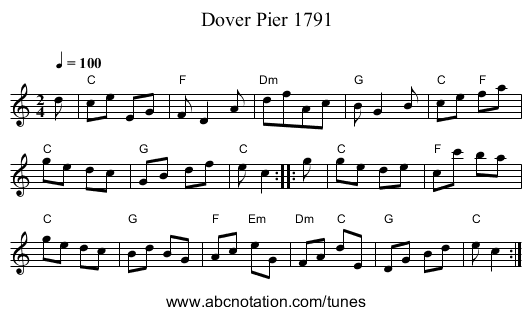 Dover Pier 1791 - staff notation