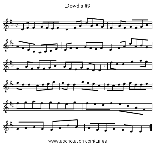 Dowd's #9 - staff notation