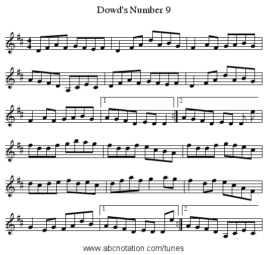 Dowd's Number 9 - staff notation