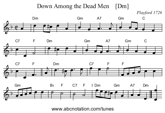 Down Among the Dead Men    [Dm] - staff notation
