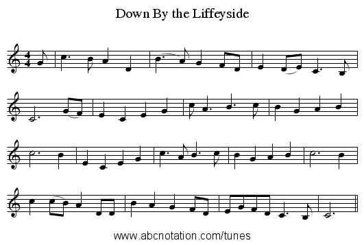 Down By the Liffeyside - staff notation