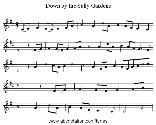 Down by the Sally Gardens - staff notation