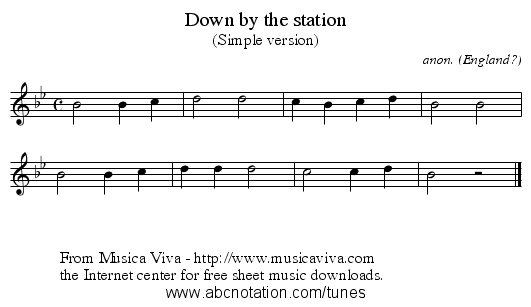 Down by the station - staff notation