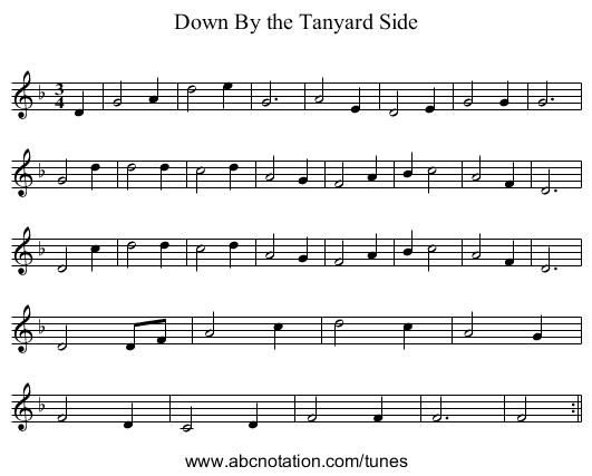 Down By the Tanyard Side - staff notation