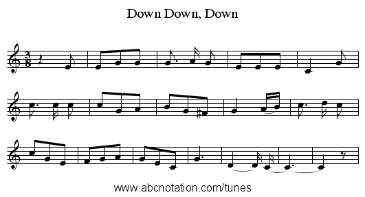 Down, Down, Down - staff notation